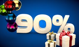 3d illustration of Christmas sale 90 percent discount. Blue royalty free illustration