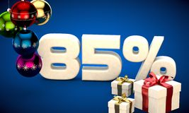 3d illustration of Christmas sale 85 percent discount. Blue Royalty Free Stock Photography