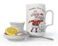 3d illustration Christmas tea set Stock Photography