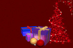 3D Illustration: Christmas tree and gifts plus ornaments Royalty Free Stock Photo