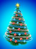 3d tinsel blue. 3d illustration of Christmas tree over blue with red balls and frippery Stock Image