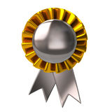3d illustration chrome badge with ribbons Royalty Free Stock Photography