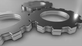 3D Illustration chrome Gears Teamwork Stock Photos