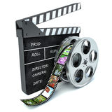 3d illustration of cinema clap and film reel, over white Stock Photo