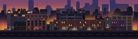 2D Illustrated City Block at Night stock illustration