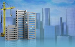 3d of city buildings construction. 3d illustration of city buildings construction with crane over skyscrappers background Royalty Free Stock Photos