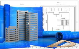 3d. Illustration of city buildings construction with drawing roll over blueprint background Royalty Free Stock Images