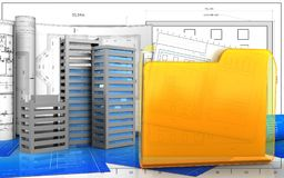 3d. Illustration of city buildings construction with drawings over blueprint background Royalty Free Stock Image