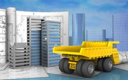 3d of city buildings construction Royalty Free Stock Photos