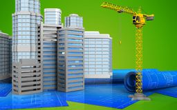 3d of city buildings construction. 3d illustration of city buildings construction with urban scene over green background Royalty Free Stock Photography
