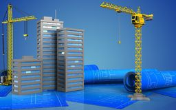 3d. Illustration of city buildings with crane over blue background Stock Photos