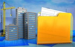 3d. Illustration of city buildings with crane over skyscrappers background Royalty Free Stock Photography