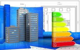3d. Illustration of city buildings with drawing roll over blueprint background Royalty Free Stock Photos