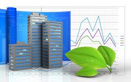 3d blank. 3d illustration of city buildings with drawing roll over business graph background Stock Photography