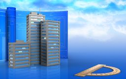 3d of city buildings. 3d illustration of city buildings with drawing roll over sky background Royalty Free Stock Images