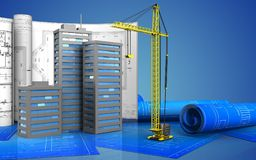 3d of city buildings. 3d illustration of city buildings with drawings over blue background Royalty Free Stock Photo