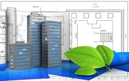3d. Illustration of city buildings with drawings over blueprint background Stock Photo