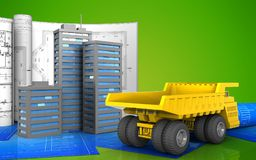 3d of city buildings. 3d illustration of city buildings with drawings over green background Royalty Free Stock Photos