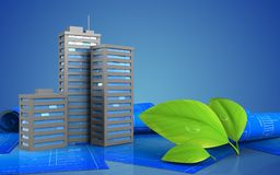 3d. Illustration of city buildings over blue background Royalty Free Stock Photo