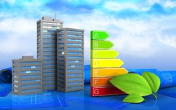 3d. Illustration of city buildings over sky background Stock Photography
