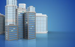3d blank. 3d illustration of city buildings with urban scene over blue background Stock Images