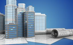 3d with urban scene. 3d illustration of city buildings with urban scene over blue background Royalty Free Stock Photography