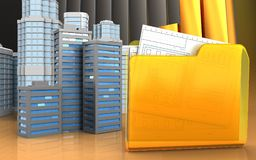 3d of folder. 3d illustration of city buildings with urban scene over golden charts background Stock Images