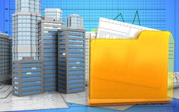 3d with urban scene. 3d illustration of city buildings with urban scene over graph background Stock Image