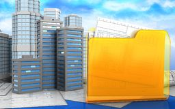 3d of city buildings. 3d illustration of city buildings with urban scene over sky background Stock Images