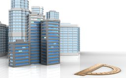 3d blank. 3d illustration of city buildings with urban scene over white background Royalty Free Stock Image