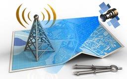 3d satellite digital signal. 3d illustration of city map with antenna and satellite digital signal Royalty Free Stock Photos