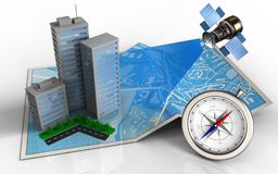 3d illustration of city map Royalty Free Stock Photos