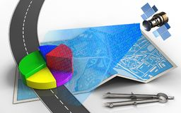 3d road. 3d illustration of city map with business data and circle tool Stock Images