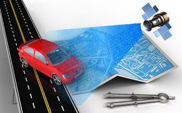 3d car. 3d illustration of city map with car and circle tool Stock Image