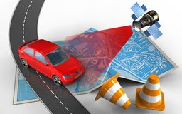 3d road. 3d illustration of city map with car and repair cones Royalty Free Stock Photography