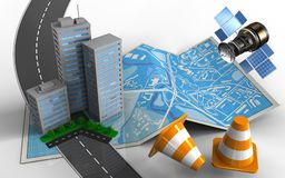 3d road. 3d illustration of city map with city buildings and repair cones vector illustration