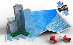 3d city buildings. 3d illustration of city map with city buildings and satellite digital signal Stock Photography