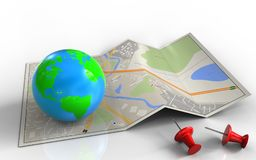 3d. Illustration of city map with earth and red pins royalty free illustration