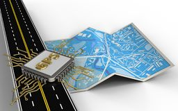3d gps chip. 3d illustration of city map with gps chip and royalty free illustration