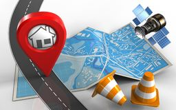 3d road. 3d illustration of city map with home pin and repair cones Royalty Free Stock Photo