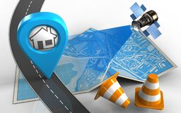 3d road. 3d illustration of city map with home point and repair cones Royalty Free Stock Photo