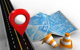 3d blank. 3d illustration of city map with location pin and repair cones Stock Images