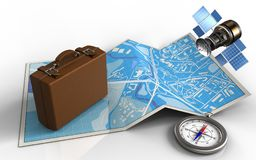3d compass. 3d illustration of city map with luggage and gps satellite vector illustration