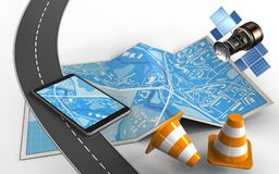 3d road. 3d illustration of city map with mobile phone and repair cones royalty free illustration