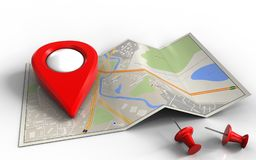 3d. Illustration of city map with point icon and red pins royalty free illustration