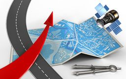 3d road. 3d illustration of city map with red arrow Royalty Free Stock Image