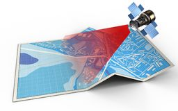 3d blank. 3d illustration of city map with and satellite stock illustration