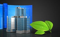 3d with drawing roll. 3d illustration of city quarter construction with drawing roll over black background Royalty Free Stock Photo