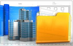 3d of folder. 3d illustration of city quarter construction with drawing roll over blueprint background Stock Photography