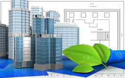 3d. Illustration of city quarter construction with urban scene over blueprint background Royalty Free Stock Images